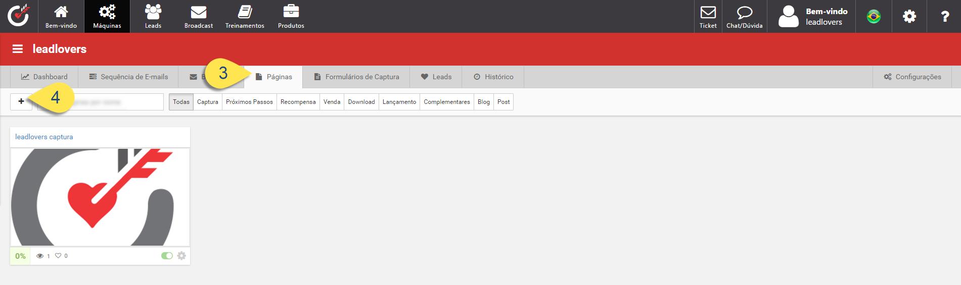 Iniciando criação de nova página